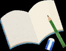 本とペンのイラスト